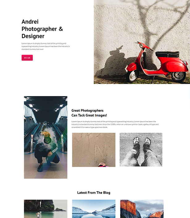 Photographer Landing Page Template - Layouts for WPBakery