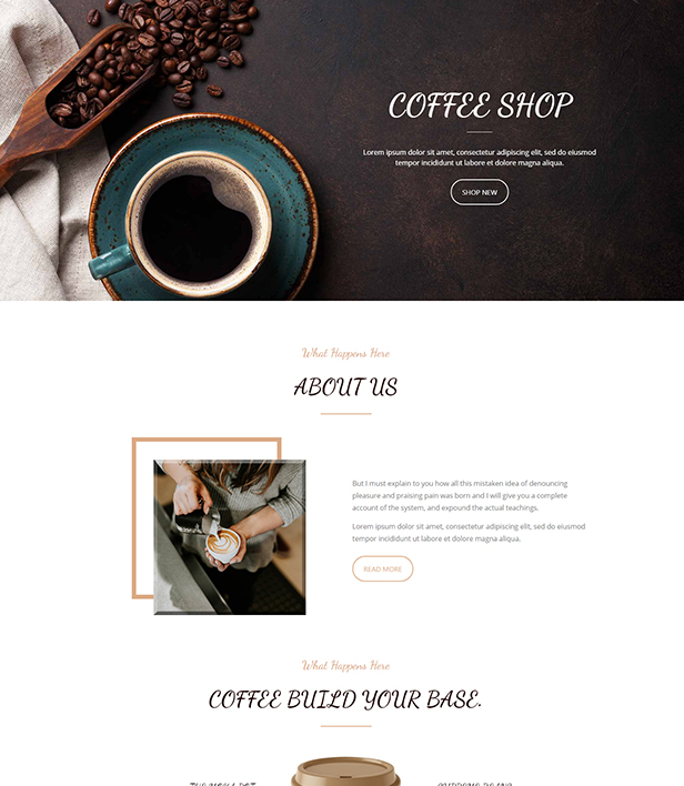 Coffee Shop Landing Page Template - Layouts for WPBakery