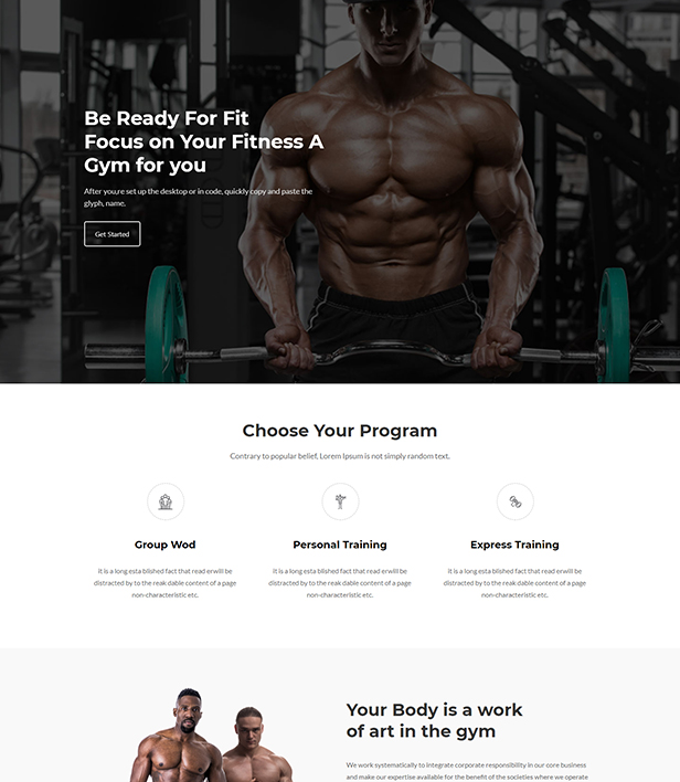 Gym Landing Page Template - Layouts for WPBakery