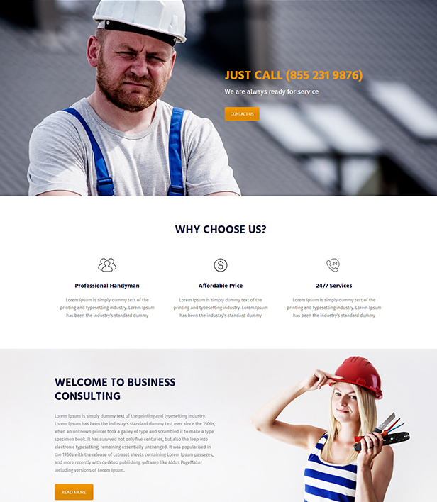 Home Maintenance Landing Page Template - Layouts for WPBakery