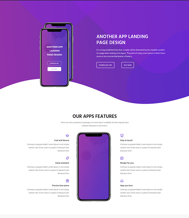 Mobile App Landing Page Template - Layouts for WPBakery
