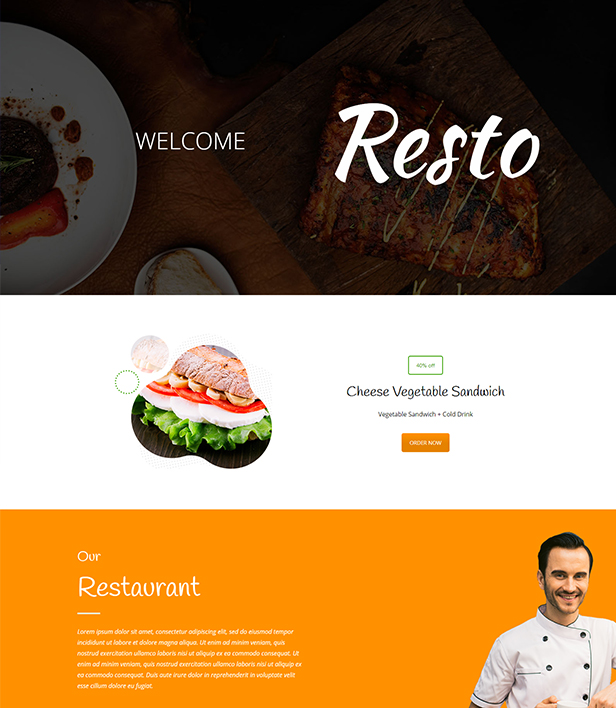Resto Landing Page Template - Layouts for WPBakery
