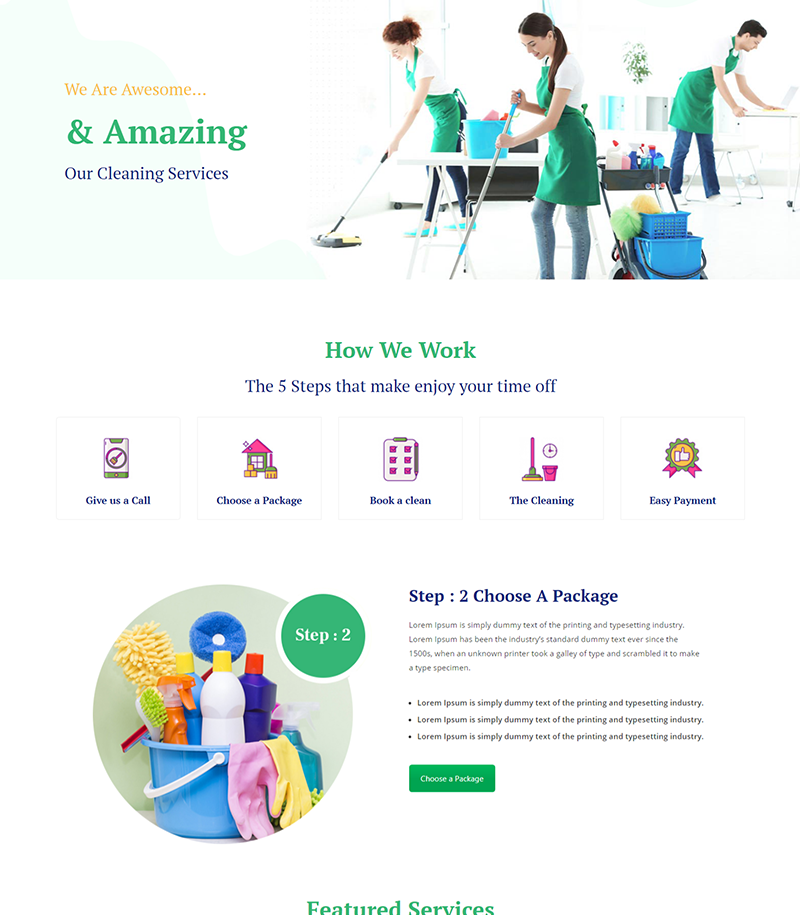 Cleaning Services Page Layouts