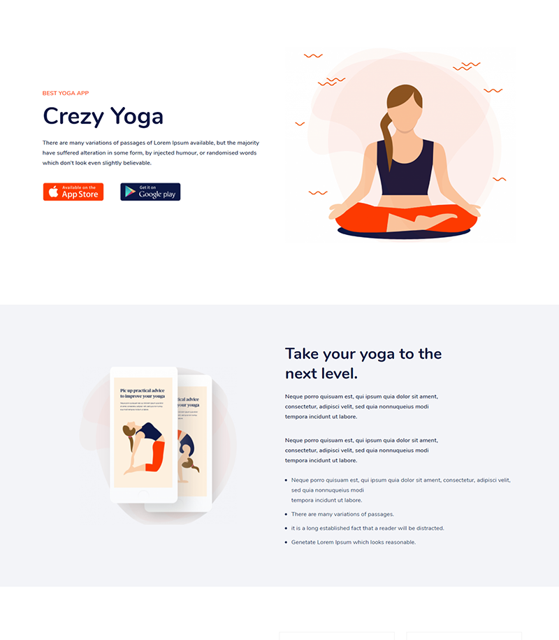Crezy Yoga Landing Page Template - Layouts for WPBakery