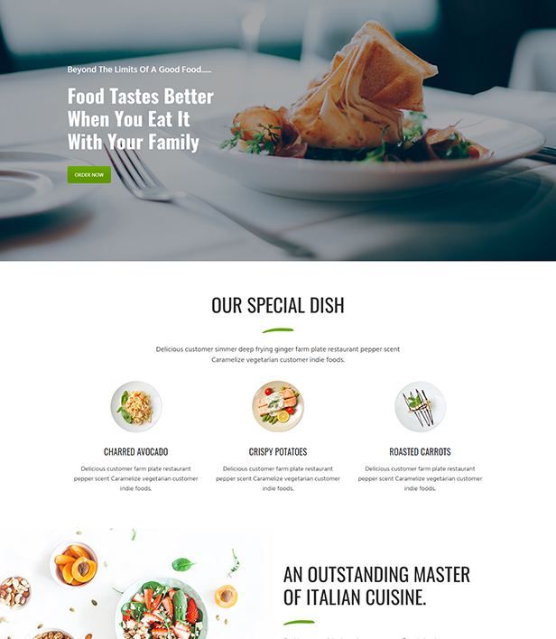Restaurant Page Layout