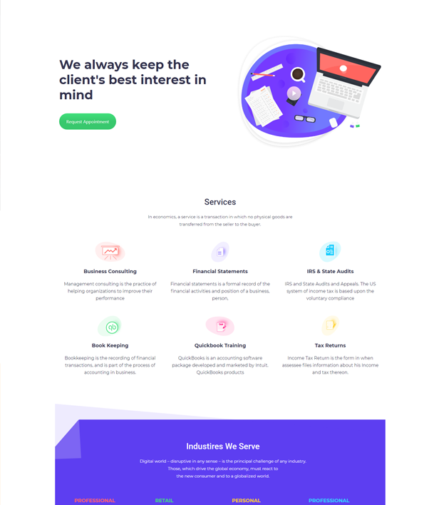 Super Service Mockup Landing Page Template - Layouts for WPBakery