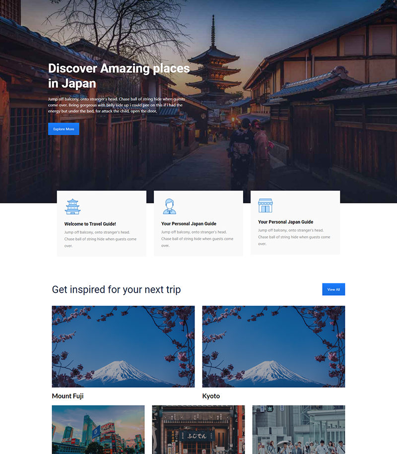 Travel Guide Landing Page Templates - Layouts for WPBakery
