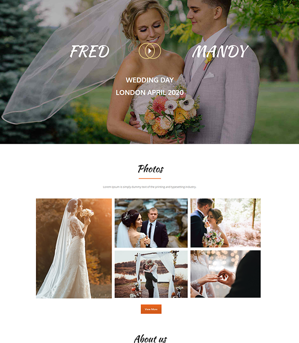 Wedding Landing Page Template - Layouts for WPBakery